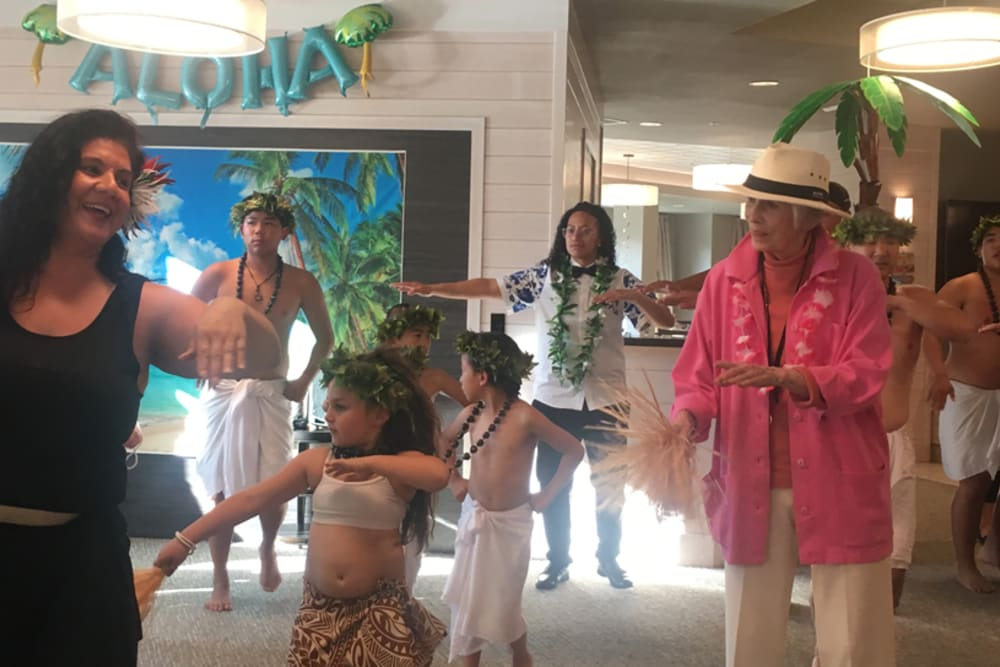 Residents and family Hula dancing at Monterey