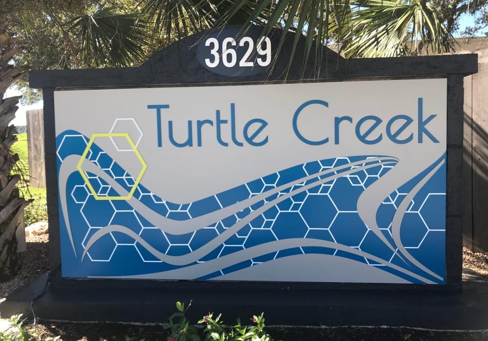 Turtle Creek Vista Apartments entrance sign in San Antonio, Texas