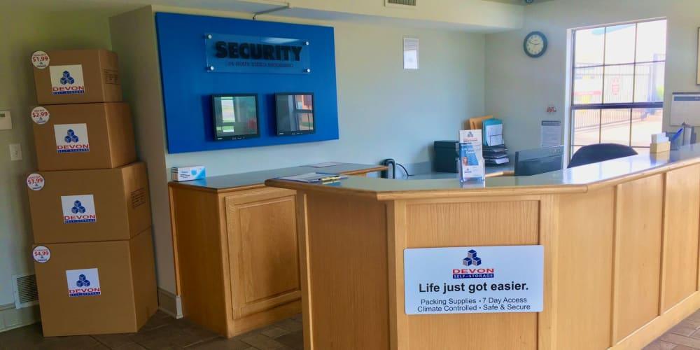 Office interior at Devon Self Storage in Sherman, Texas