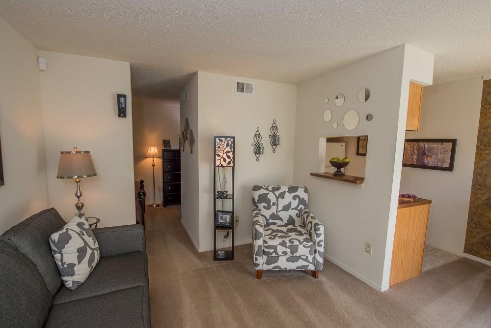 Spacious Living Room at Sunchase Apartments in Tulsa, Oklahoma
