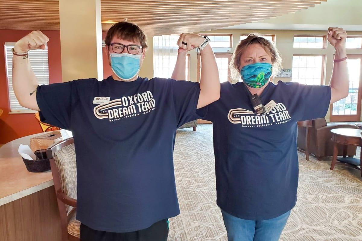 Two team members at Oxford Glen Memory Care at Carrollton in Carrollton, Texas