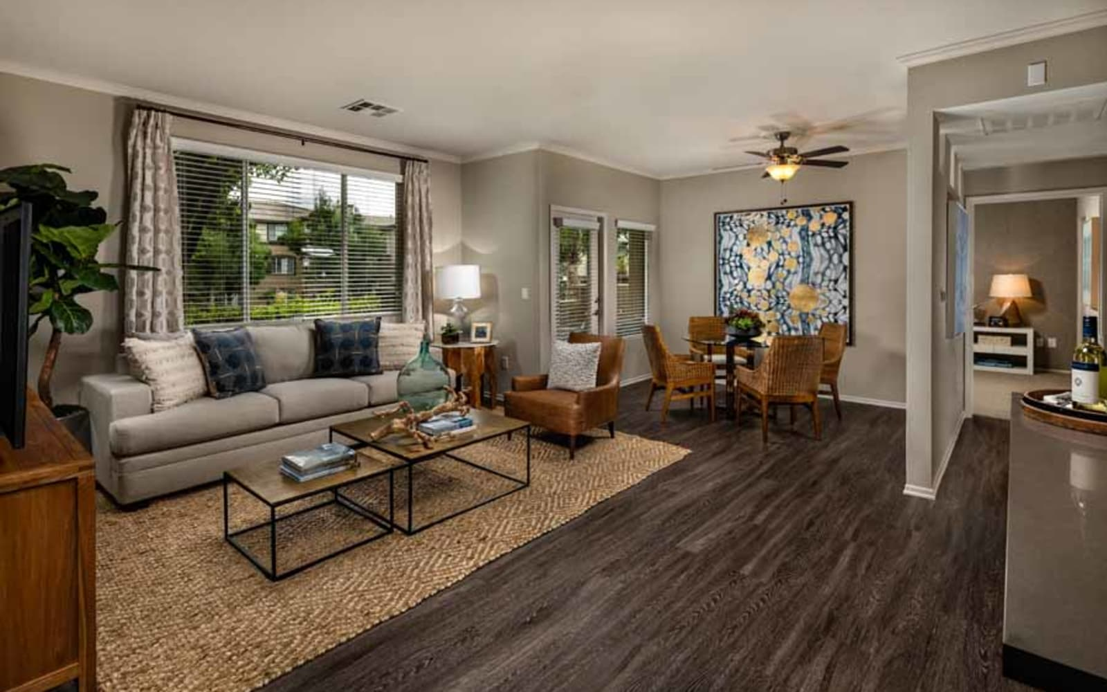 A furnished apartment living room at Castlerock at Sycamore Highlands in Riverside, California