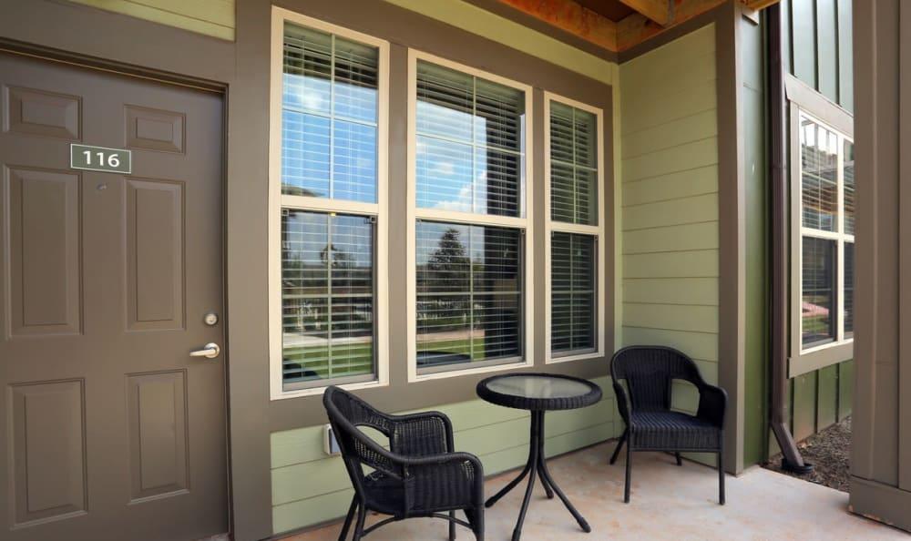 Apartment porch at Springs at Memorial in Oklahoma City
