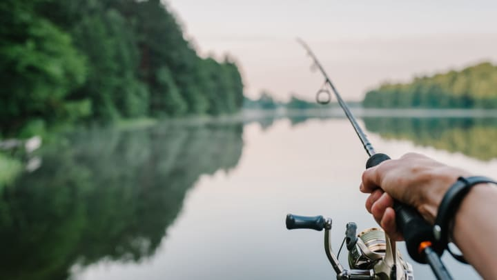 A fisherman's hand holding a rod and spinning reel, on the bank of a lake in the early morning.