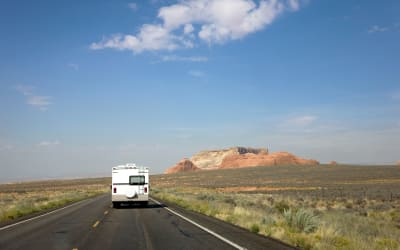 RV hitting the open road from its convenient storage location at Doc's Mini Storage in Enid