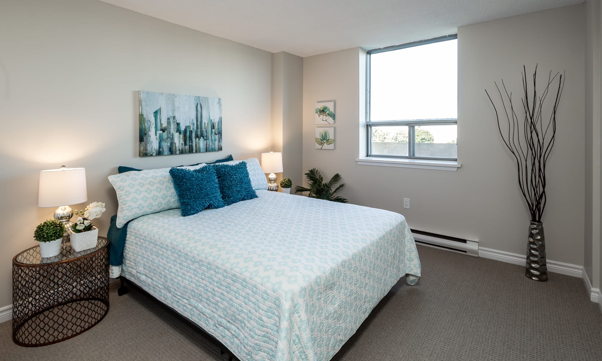 Beautiful bedroom at Cunard Apartments in Halifax