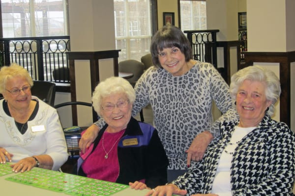 Bewlah Pickett with residents at Liberty Heights Gracious Retirement Living in Rockwall, Texas