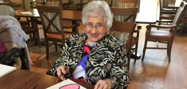 senior woman doing crafts