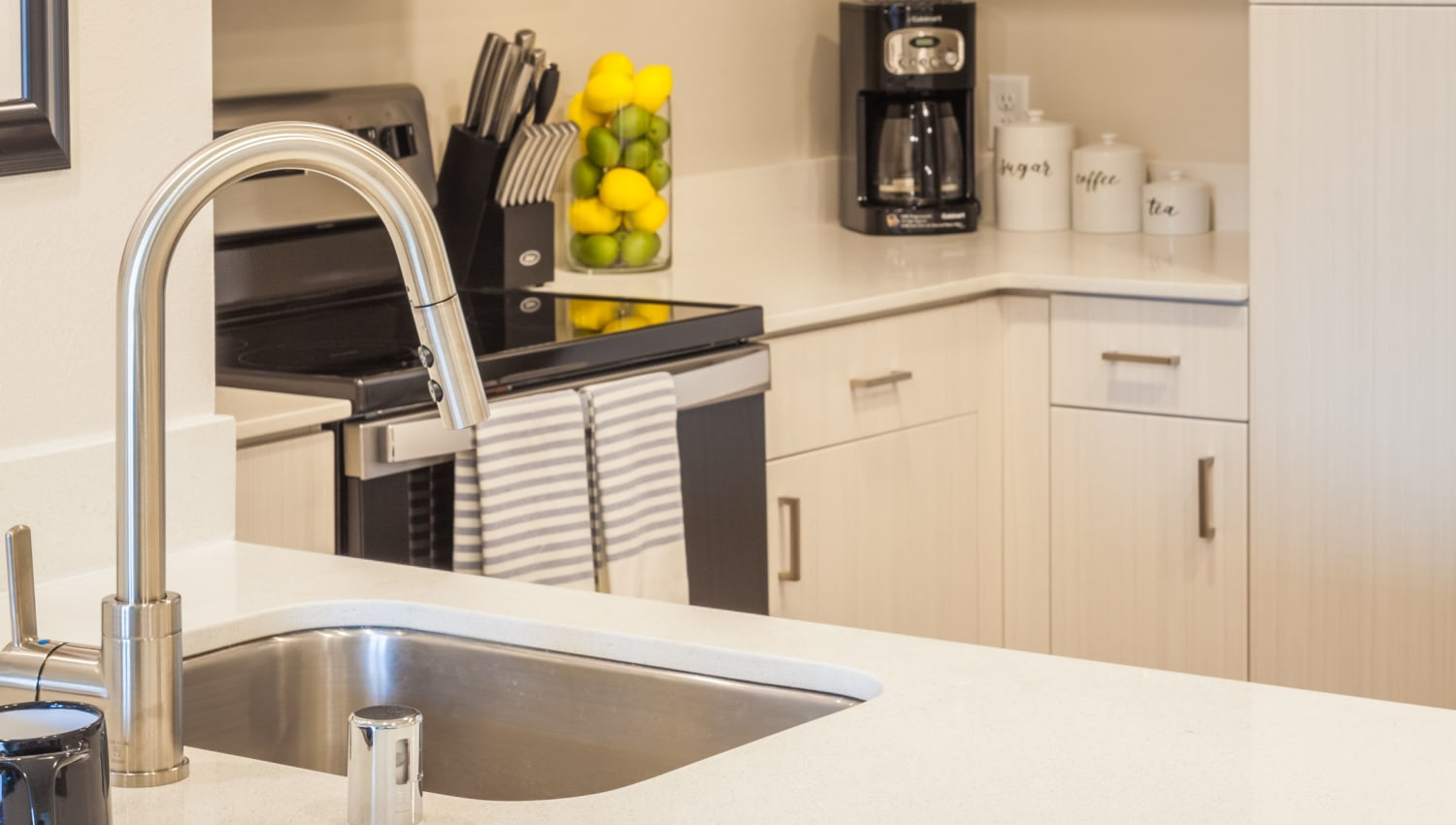 Stainless-steel sink at Capitol Flats in Santa Fe, New Mexico
