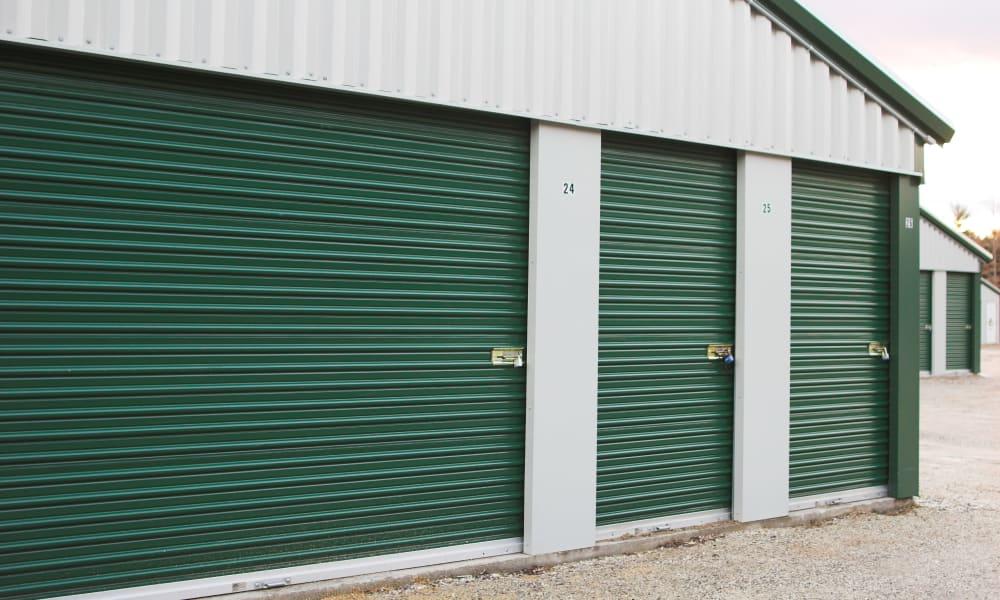 Outdoor storage units at Devon Self Storage in Athens, Georgia