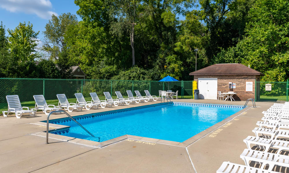 Sparkling pool at Indian Footprints Apartments in Harrison, Ohio