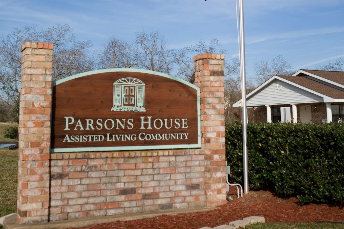 Exterior sign at Parsons House La Porte in La Porte, Texas