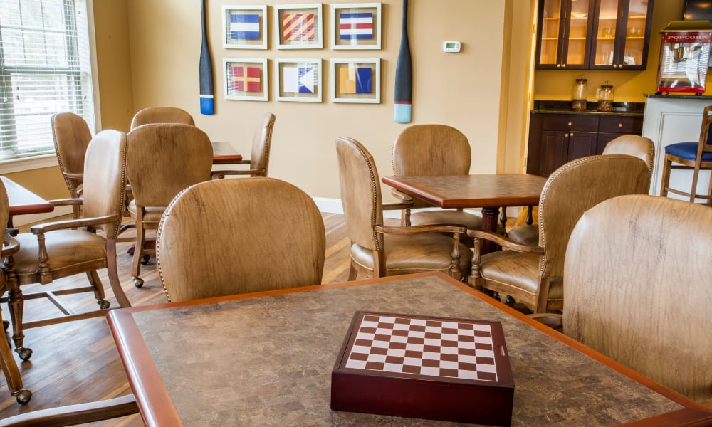 The game room at Keystone Place at  Buzzards Bay in Buzzards Bay, Massachusetts