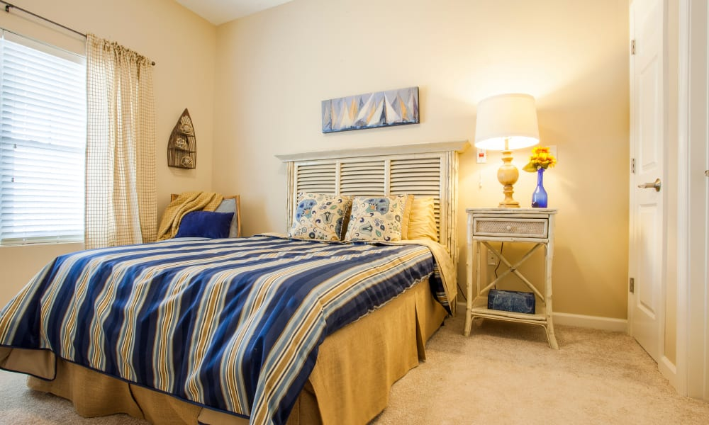 A furnished apartment bedroom at Keystone Place at  Buzzards Bay in Buzzards Bay, Massachusetts
