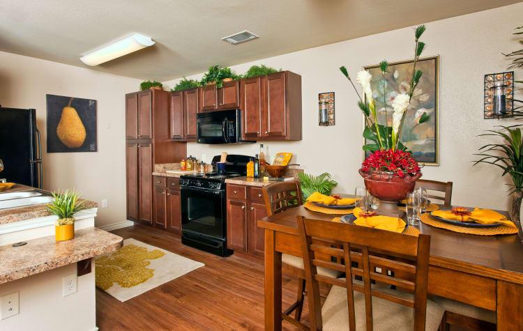 Gourmet kitchen in model home at The Hills at Fair Oaks in Fair Oaks Ranch, Texas