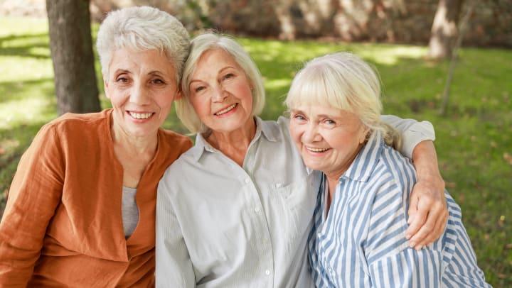 Three female senior friends in a park