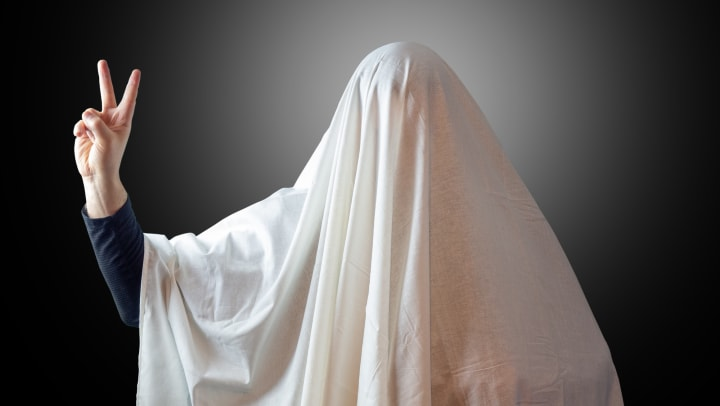 Ghost sheet costume at Olympus Steelyard in Chandler, Arizona
