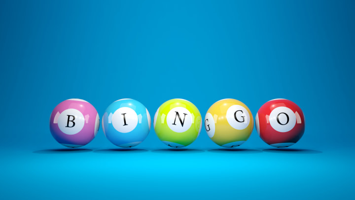 """Realistic 3D lottery balls spelling out """"BINGO"""""""
