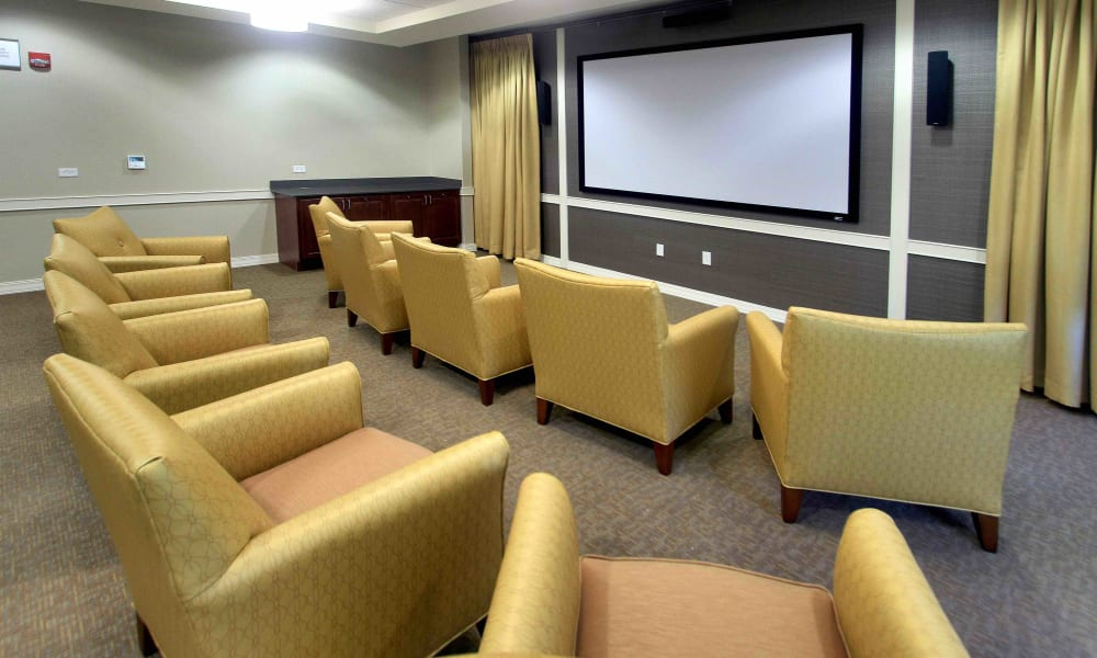 An onsite movie theater at Anthology of Grayslake in Grayslake, Illinois