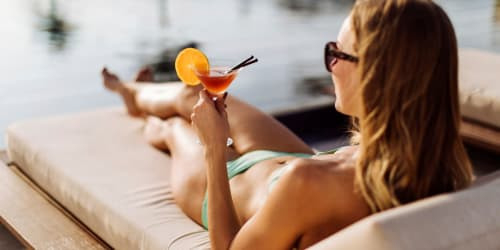 A refreshing drink sitting by the pool at Elevate in Englewood, Colorado