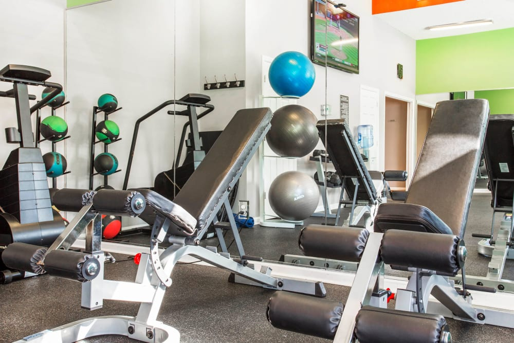 Well-equipped onsite fitness center at The Seasons at Umstead in Raleigh, North Carolina