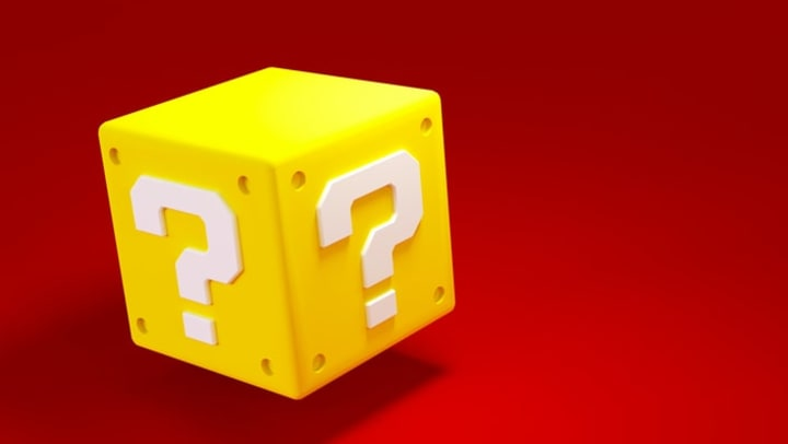 Yellow mystery box with white question marks