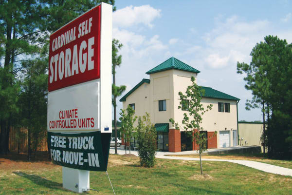 The front of Cardinal Self Storage - East Raleigh building in Raleigh, North Carolina