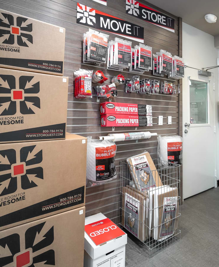 Boxes and moving supplies available at StorQuest Self Storage in Los Angeles, California