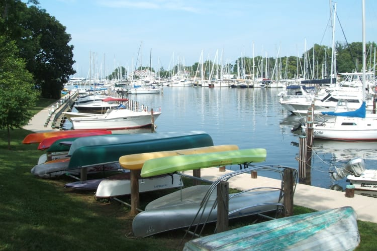 Kayaks and canoes near the dock at Watergate Pointe in Annapolis, Maryland