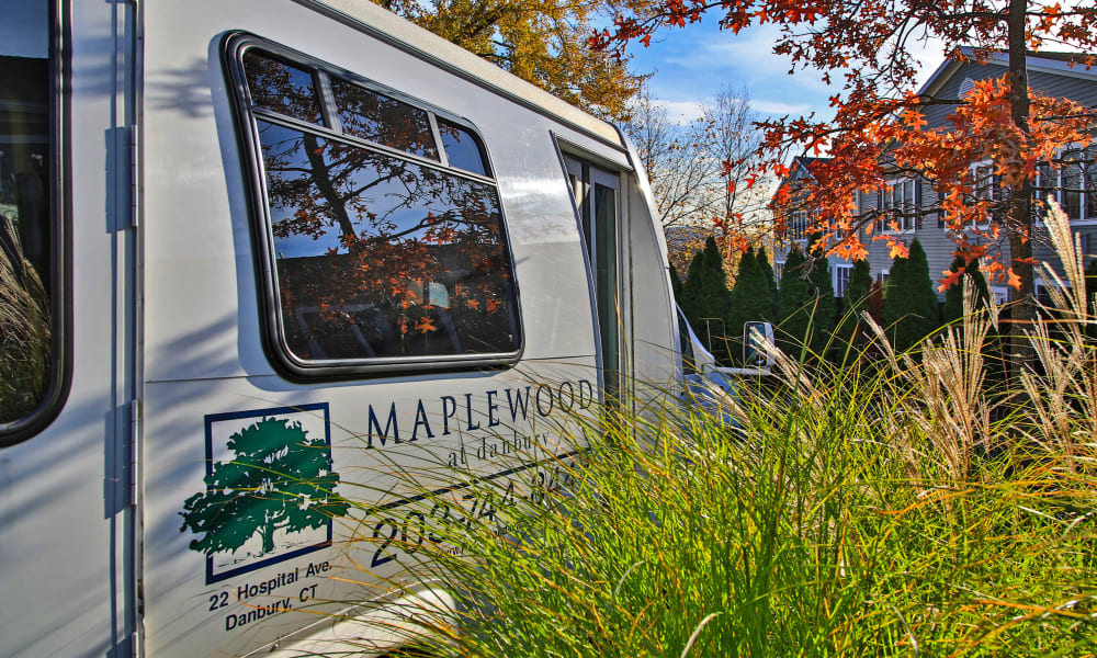 Bus at a Maplewood Senior Living community