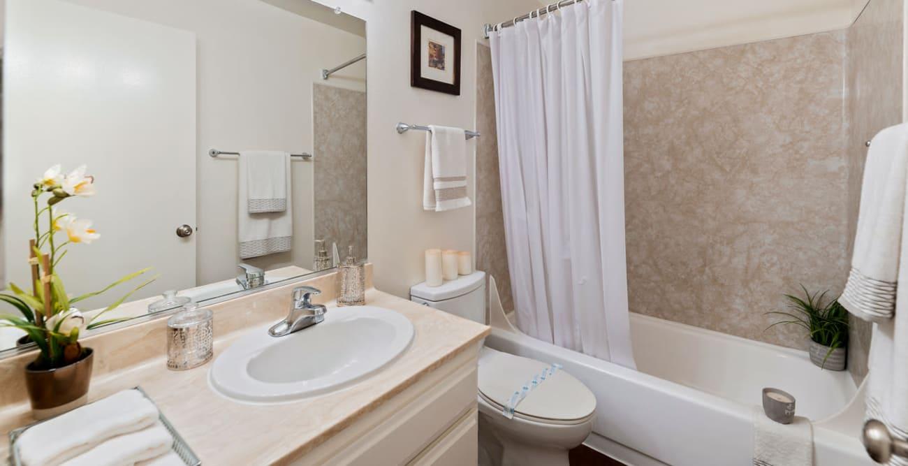 Model bathroom at The Terrace in Tarzana, California