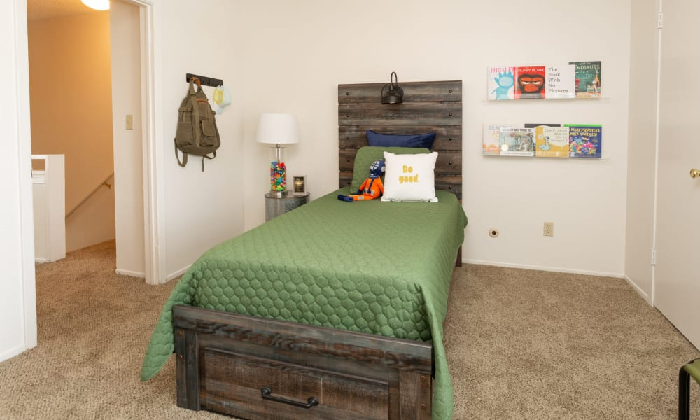 An apartment bedroom at Mountain Village in El Paso, Texas