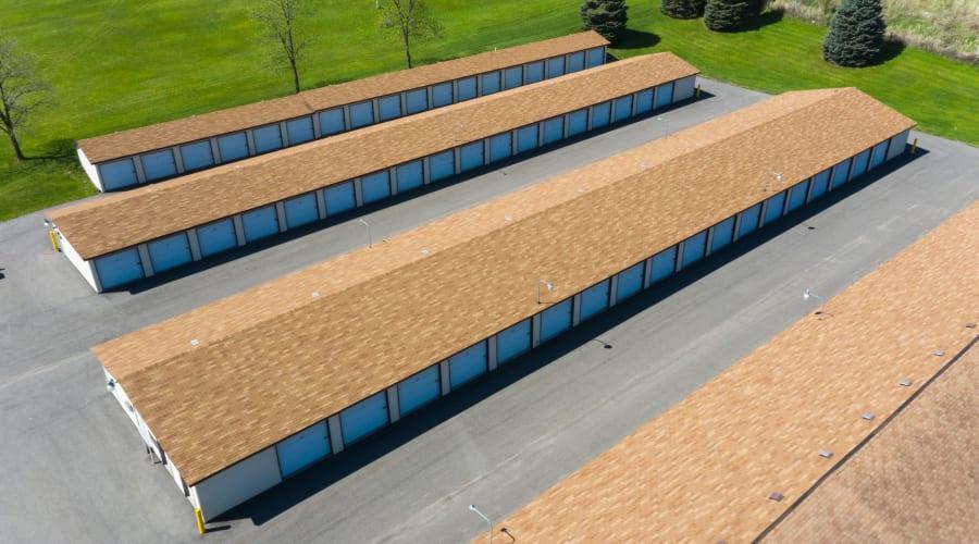 Aerial view of storage buildings at KO Storage of Portage - North in Portage, Wisconsin