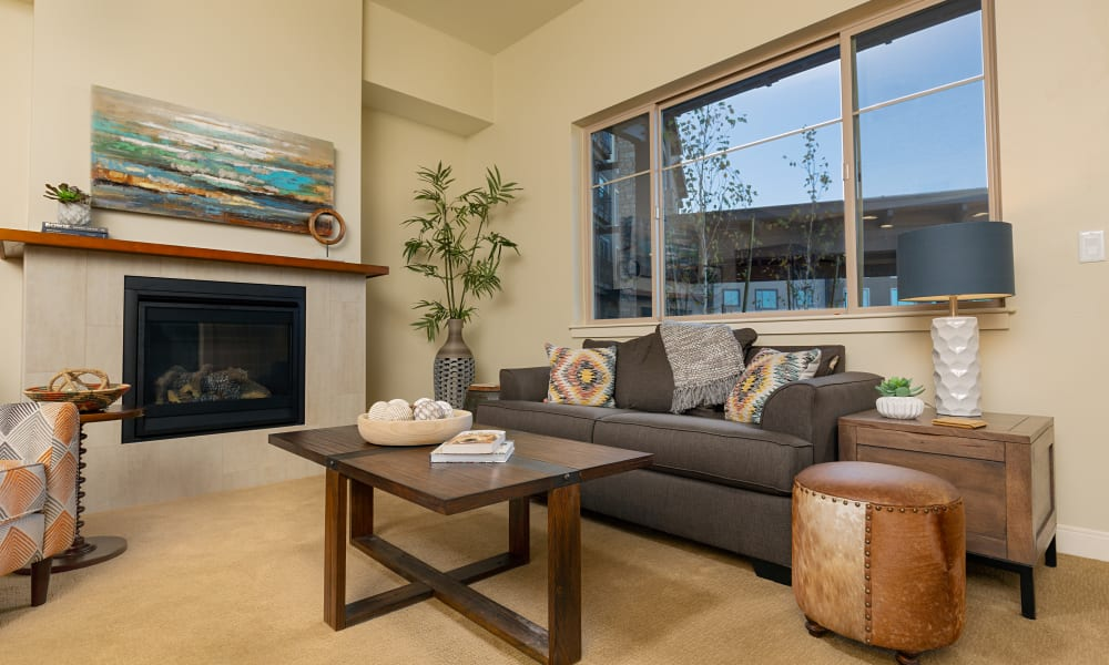 An apartment living room at Touchmark at Wedgewood in Edmonton, Alberta