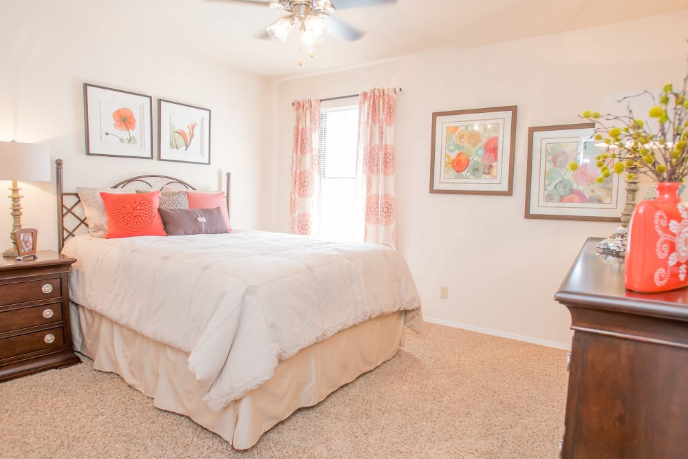 Nicely decorated bedroom at Barrington Apartments in Tulsa, Oklahoma