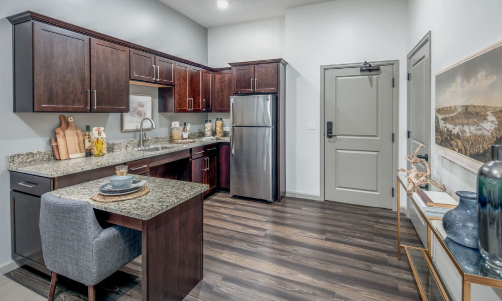 Wood flooring in an apartment kitchen at Anthology of McCandless in Pittsburgh, Pennsylvania