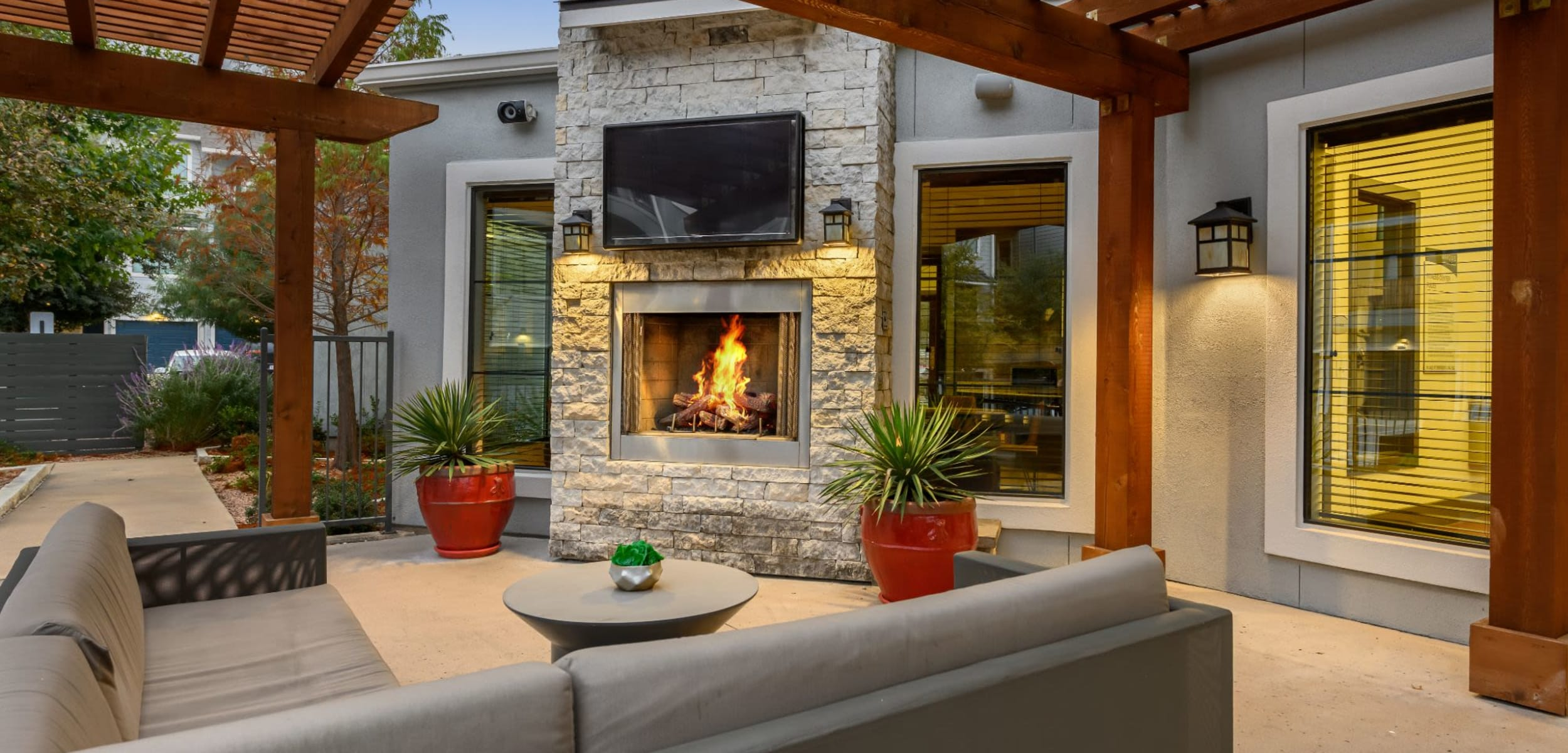 Outdoor cabana for residents at Marquis SoCo in Austin, Texas