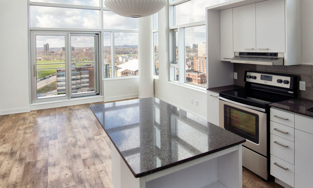 A fully equipped modern kitchen at 19Twenty Apartments in Halifax, Nova Scotia