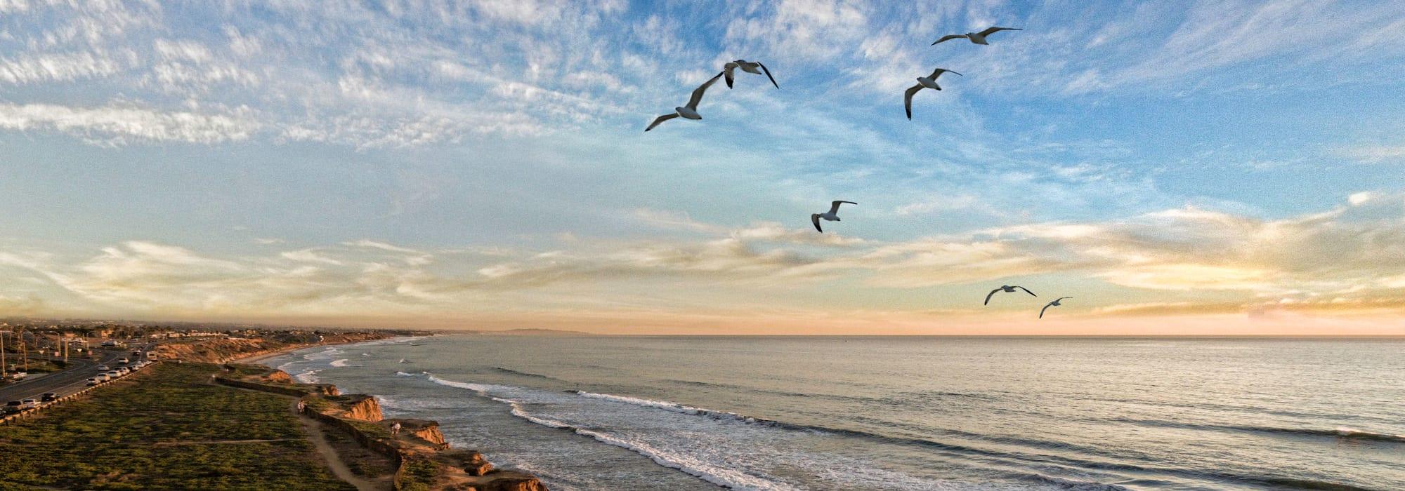 Sunset on the beach near Smart Self Storage of Solana Beach in Solana Beach, California
