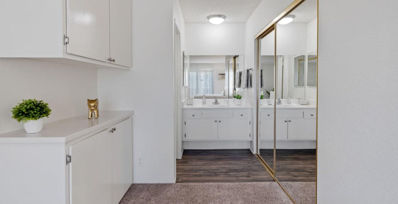 Spacious bathroom and closet space at The Terrace in Tarzana, California