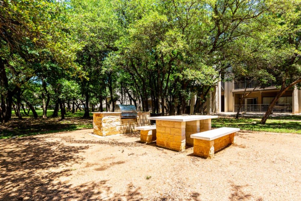 Outdoor picnic area at Marquis at Ladera Vista in Austin, Texas