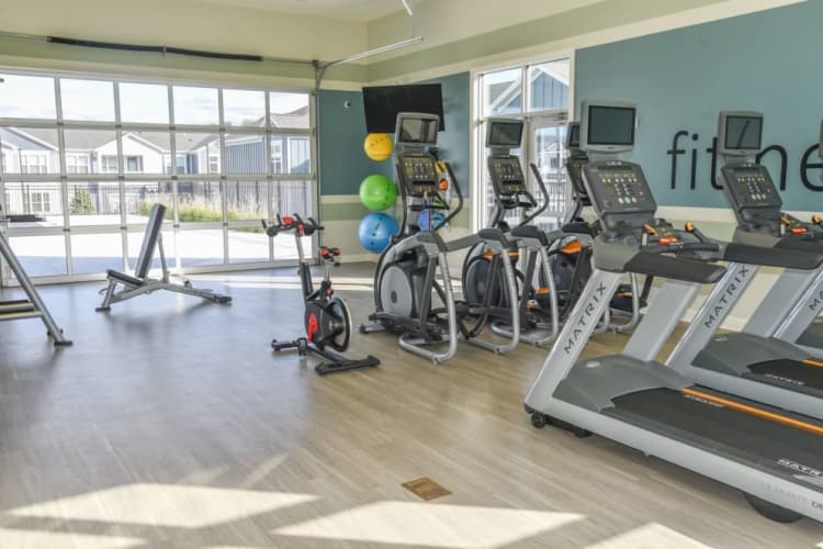 Fitness center at Springs at Cobblestone Lake in Apple Valley, Minnesota