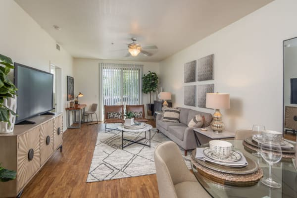 Large living room in model home at The Fleetwood in Tempe, Arizona