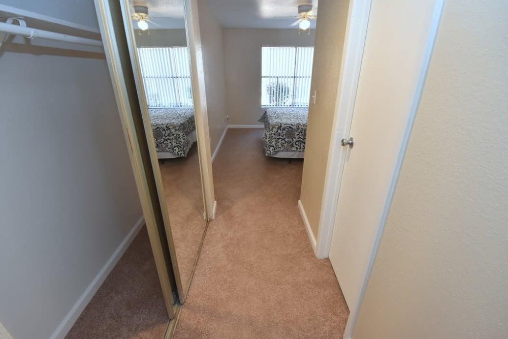 Bedroom interior hall at Green Meadows Apartments
