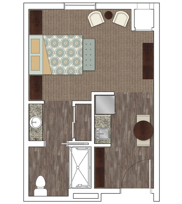 Assisted living studio at Stonecrest of Town & Country