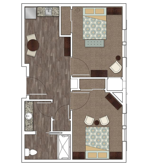 Stonecrest of Town & Country's two bedroom assisted living apartment