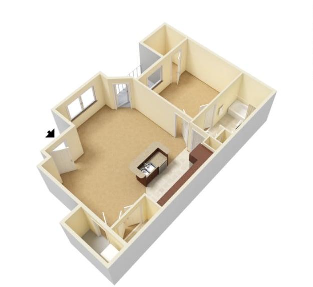 One bedroom floor plan at Huntsville Parc Apartment Homes in Huntsville, Alabama