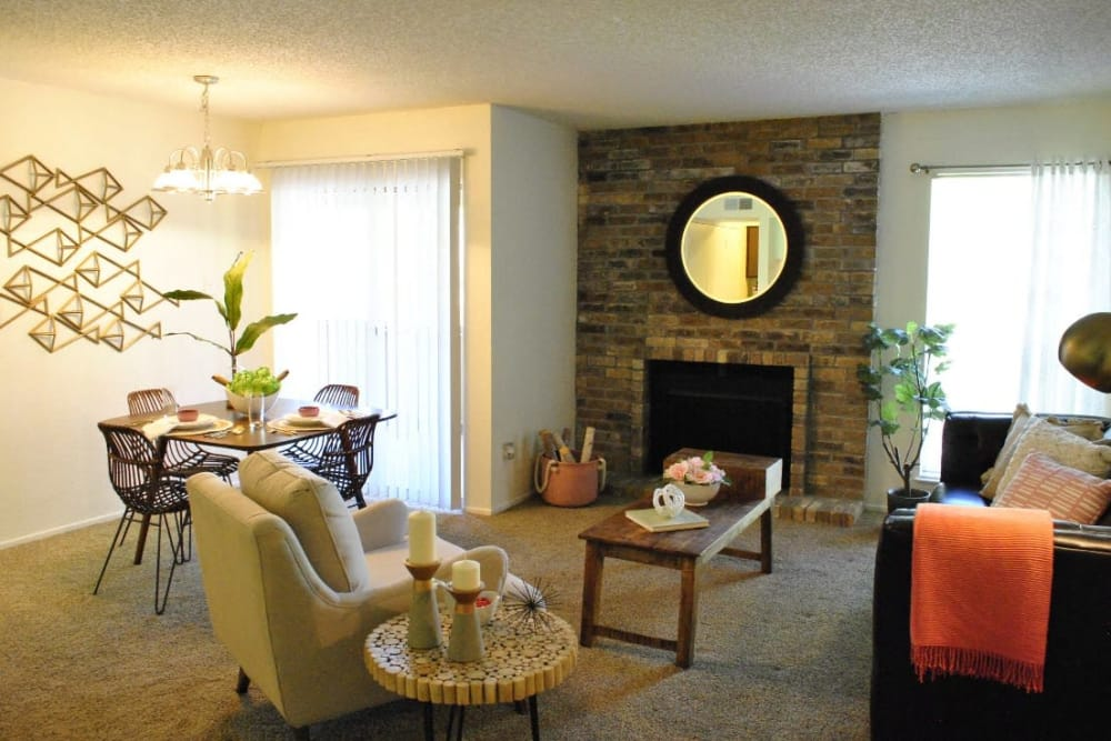 Beautiful living room at The Chimneys Apartments in El Paso, Texas