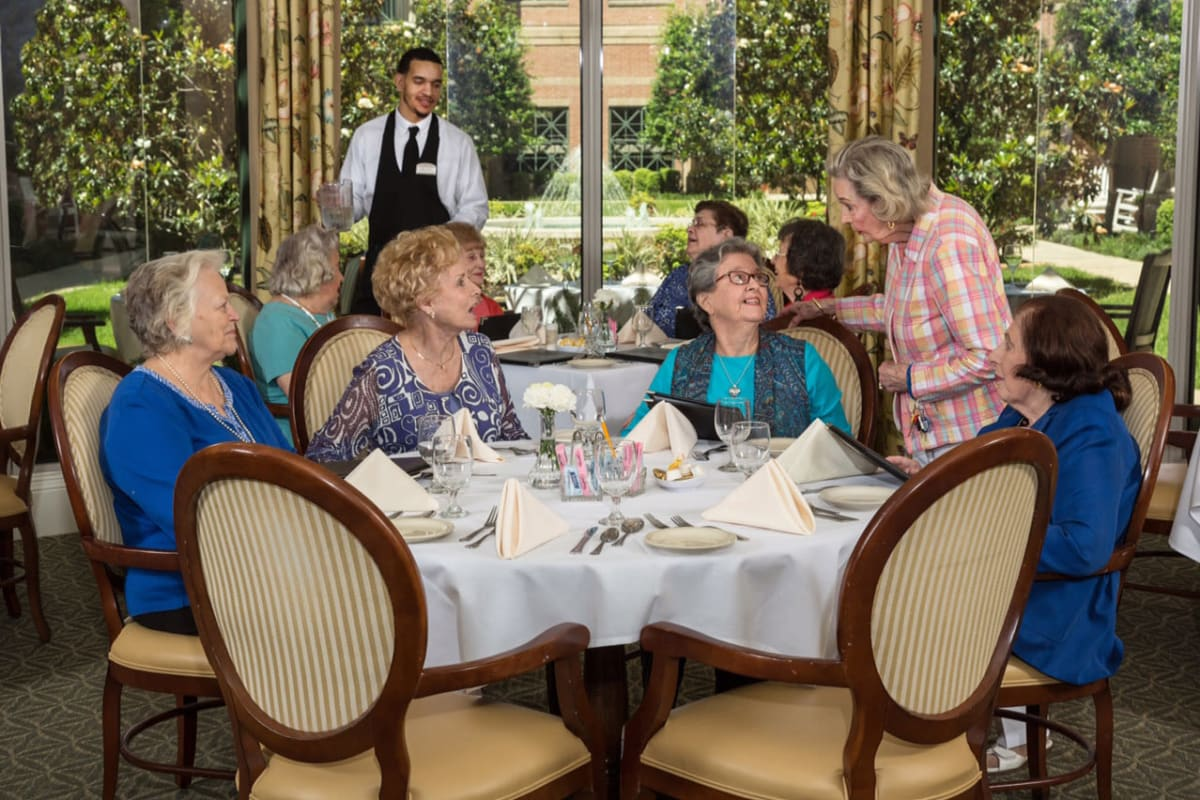 The dining room at The Village of Tanglewood in Houston, Texas