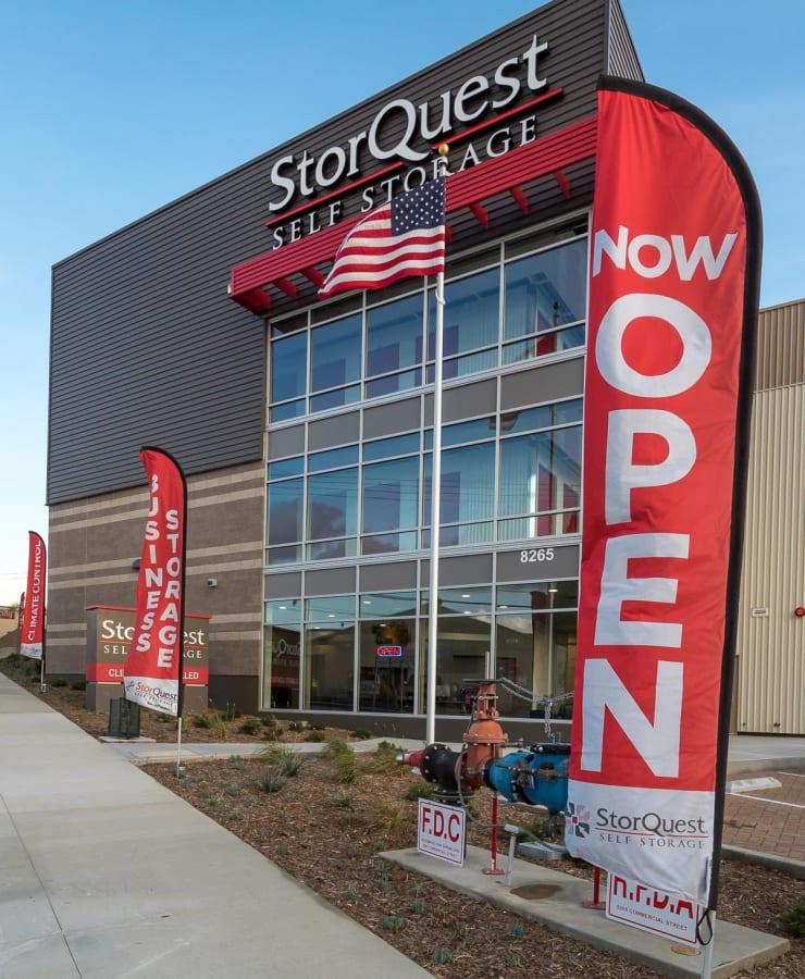 The exterior of StorQuest Self Storage in La Mesa, California